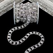 "1/2"" FAUX ROUND DIAMOND CENTER RHINESTONE CHAIN-5 YDS (Silver)"