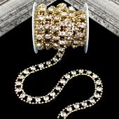 "1/2"" FAUX ROUND DIAMOND CENTER RHINESTONE CHAIN-5 YDS (Gold)"