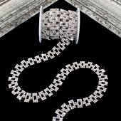 "1/2"" ELEGANT RETANGLE RHINESTONE CHAIN-3 YDS (Silver)"