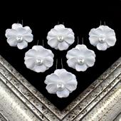 """1 3/4"""" COSMOS FLOWER HAIR PINS W/PEARL CENTER-6 PCS (White)"""