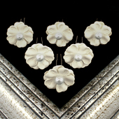 "1 3/4"" COSMOS FLOWER HAIR PINS W/PEARL CENTER-6 PCS (Ivory)"