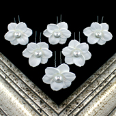 """1 3/4"""" LILY FLOWER HAIR PINS W/PEARL CENTER-6 PCS (White)"""