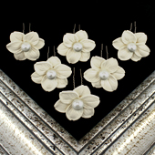 "1 3/4"" LILY FLOWER HAIR PINS W/PEARL CENTER-6 PCS (Ivory)"