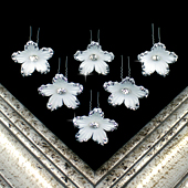 "1 3/4"" DAISY FLOWER HAIR PINS W/RHINESTONE EDGE-6 PCS (White)"