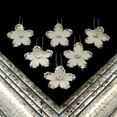 "1 3/4"" DAISY FLOWER HAIR PINS W/RHINESTONE EDGE-6 PCS (Ivory)"