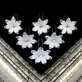 "1 3/4"" JASMINE FLOWER HAIR PINS W/RHINESTONE EDGE-6 PCS (White)"