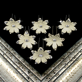 "1 3/4"" JASMINE FLOWER HAIR PINS W/RHINESTONE EDGE-6 PCS (Ivory)"
