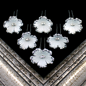 "1 3/4"" COSMOS FLOWER HAIR PINS W/RHINESTONE EDGE-6 PCS (White)"