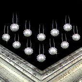 "3/4"" RHINESTONE PEARL CENTER U-SHAPE HAIR PINS-12 PCS (Silver)"