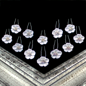 "7/8"" WHITE FLOWER W/RHINESTONE CENTER U-SHAPE HAIR PINS-12PC (White/Silver)"