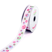 "7/8"" SATIN CANDY HEARTS RIBBON-10 YDS (White)"