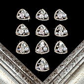 "1 1/8"" TRIANGLE FLOWER, PEARL RHINESTONE ACCESSORIES-10 PCS (Gold)"