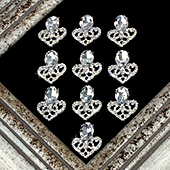 "1"" CRYSTAL CONE RHINESTONE ACCESSORIES-10 PCS (Silver)"
