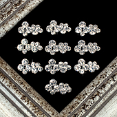 "1 1/4"" RANDOM FORM RHINESTONE ACCESSORIES-10 PCS (Silver)"