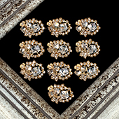 "1 1/8"" CHIC FLOWER & CUBE RHINESTONE ACCESSORIES-10 PCS (Gold)"