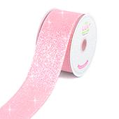 "2"" IRIDESCENT GLITTER CANVAS RIBBON-10 YDS (Pink)"