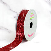 "7/8"" SPARKLY SEQUINS RIBBON-10 YDS (Red)"