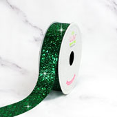 "7/8"" SPARKLY SEQUINS RIBBON-10 YDS (Emerald Green)"