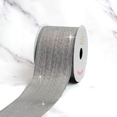 "2 1/2"" WIRED METALLIC LINES RIBBON-10 YDS (Silver)"