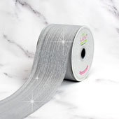 "2 1/2"" WIRED METALLIC LINES RIBBON-10 YDS (White)"