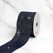 "2 1/2"" WIRED METALLIC LINES RIBBON-10 YDS (Navy Blue)"