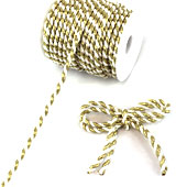 6mm 2 Ply Twist Cords - 25 Yards (White/Gold)