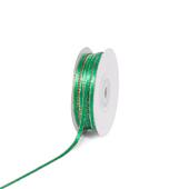 "1/8"" Satin with Gold Edge Ribbon - 50 Yards (Emerald Green)"
