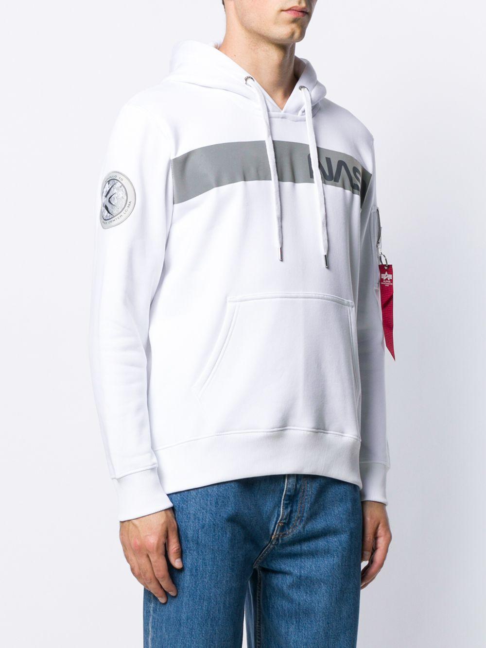 nasa rs hoodie man white in cotton ALPHA INDUSTRIES | Sweatshirts | 19831309