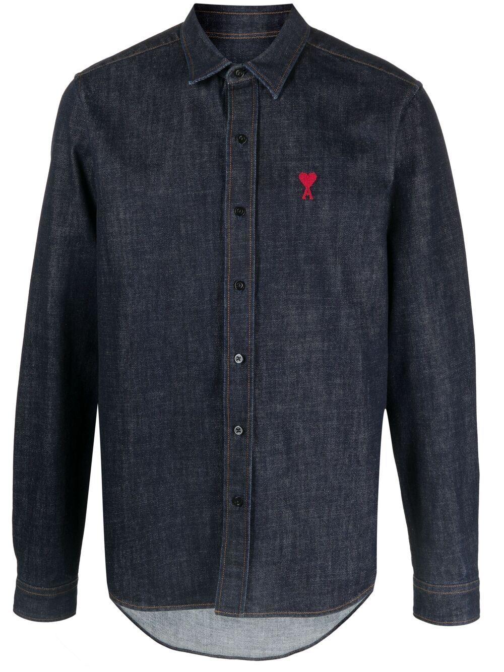 Camicia ami de coeur Denim in Cotone Uomo AMI - ALEXANDRE MATTIUSSI   Camicie   A21HC014.410402