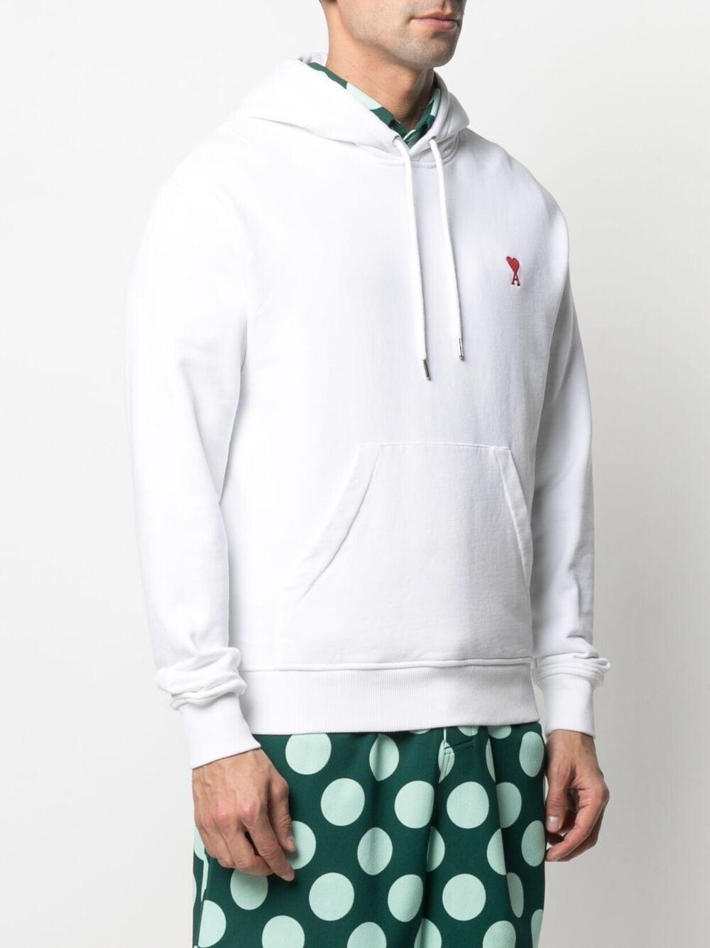 Ami de coeur hoodie White in Cotton Man AMI - ALEXANDRE MATTIUSSI   Sweatshirts   A21HJ008.730100