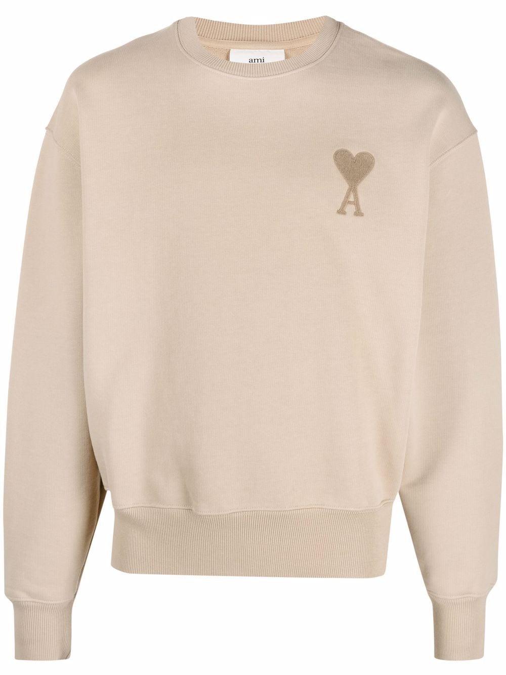 Ami de coeur sweatshirt Beige in Cotton Man AMI - ALEXANDRE MATTIUSSI   Sweatshirts   A21HJ028.747250