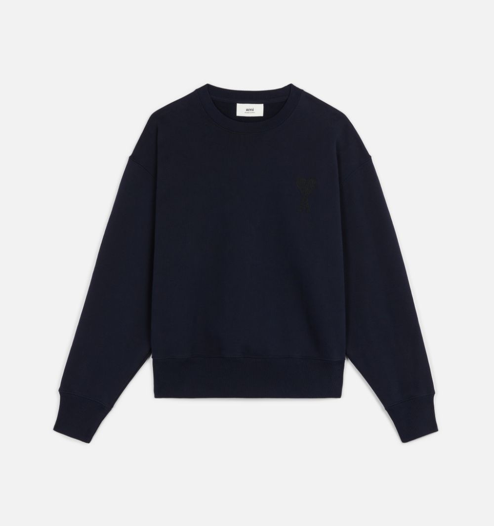 sweater ami de coeur man navy in cotton AMI - ALEXANDRE MATTIUSSI | Sweatshirts | A21HJ028.747410