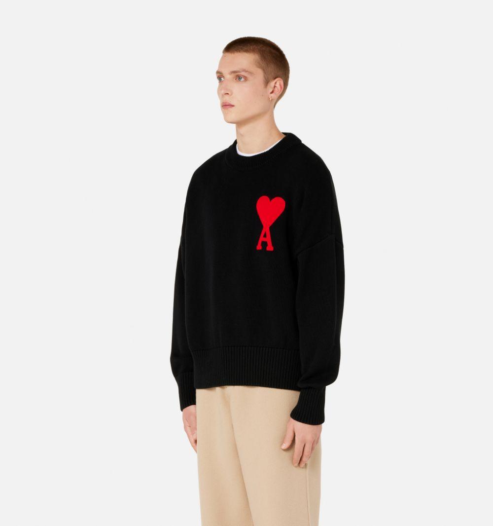 ami de coeur sweater man black in cotton and wool AMI - ALEXANDRE MATTIUSSI   Sweaters   A21HK009.016001