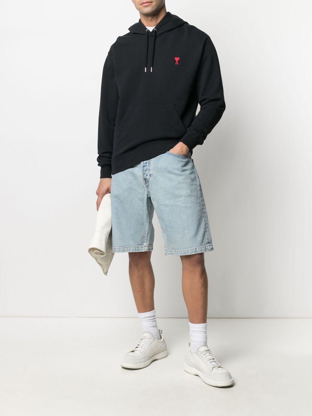 Ami de coeur hoodie Black in Cotton Man AMI - ALEXANDRE MATTIUSSI | Sweatshirts | BFHJ008.730001