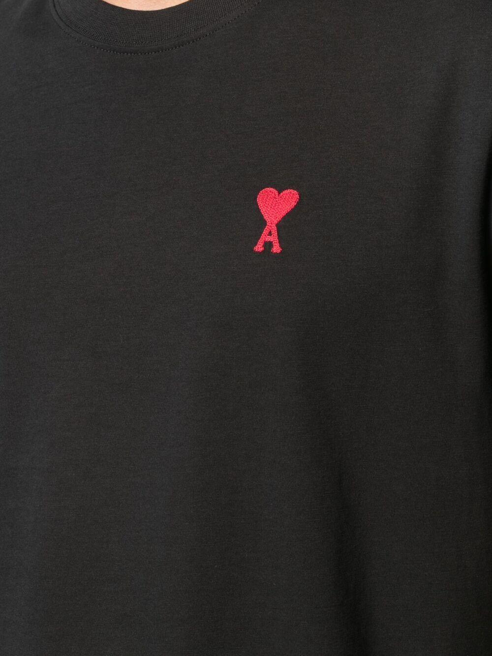 Ami de coeur t-shirt nera uomo organic cotton AMI - ALEXANDRE MATTIUSSI   T-shirts   BFHJ108.723001