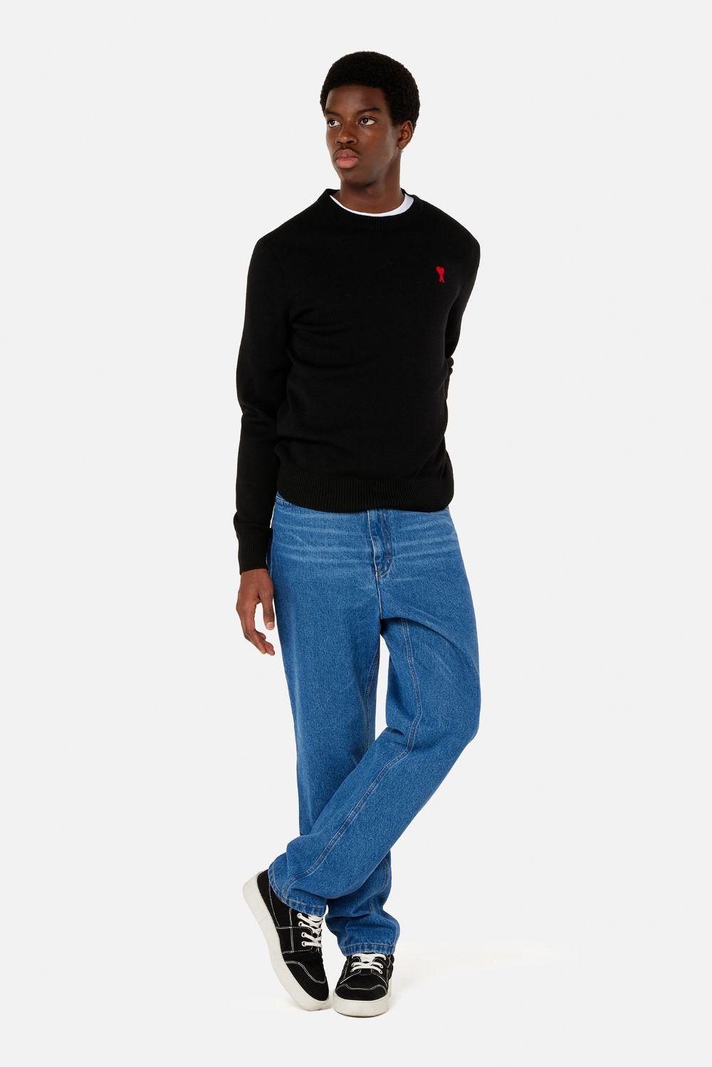 Ami de coeur sweater Black in Wool Man AMI - ALEXANDRE MATTIUSSI   Sweaters   BFHK001.001001