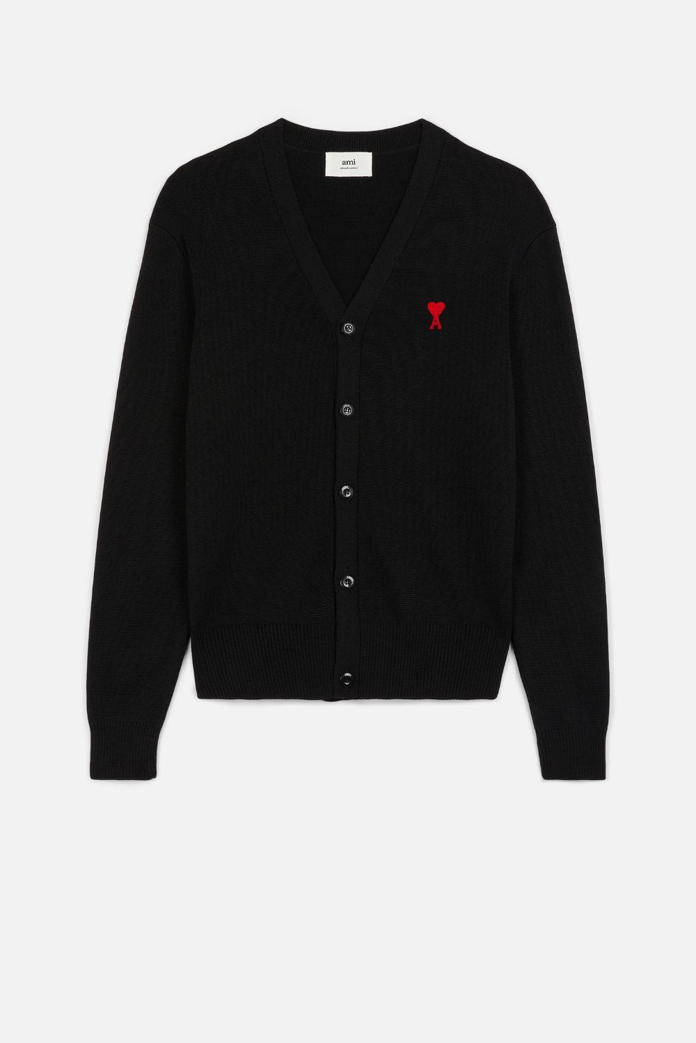 Ami de coeur cardigan Black in Wool Man AMI - ALEXANDRE MATTIUSSI | Sweaters | BFHK305.001001