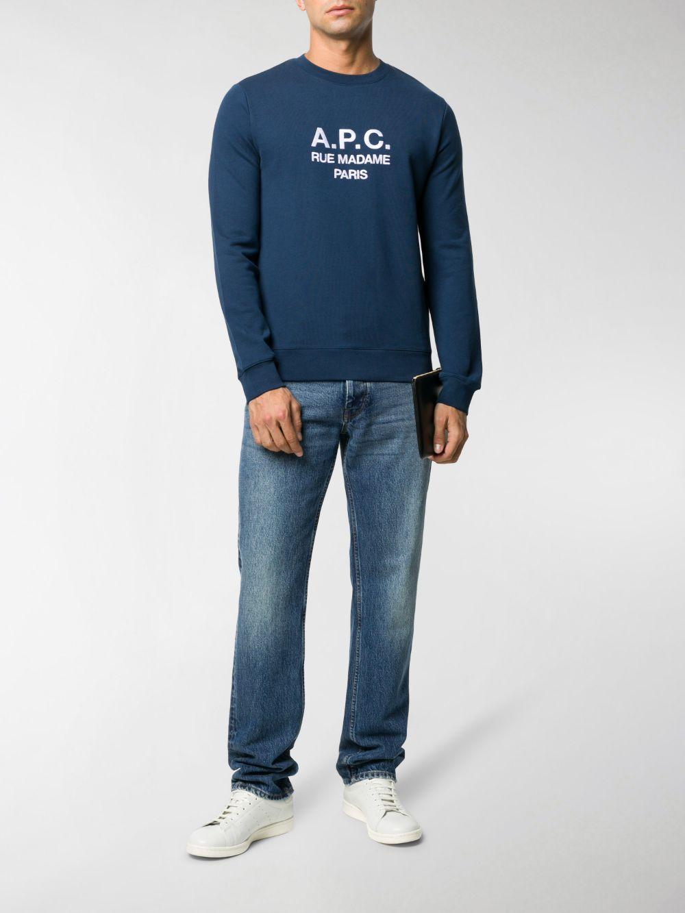felpa con logo uomo blu in cotone A.P.C.   Felpe   COEBH-H27500IAJ