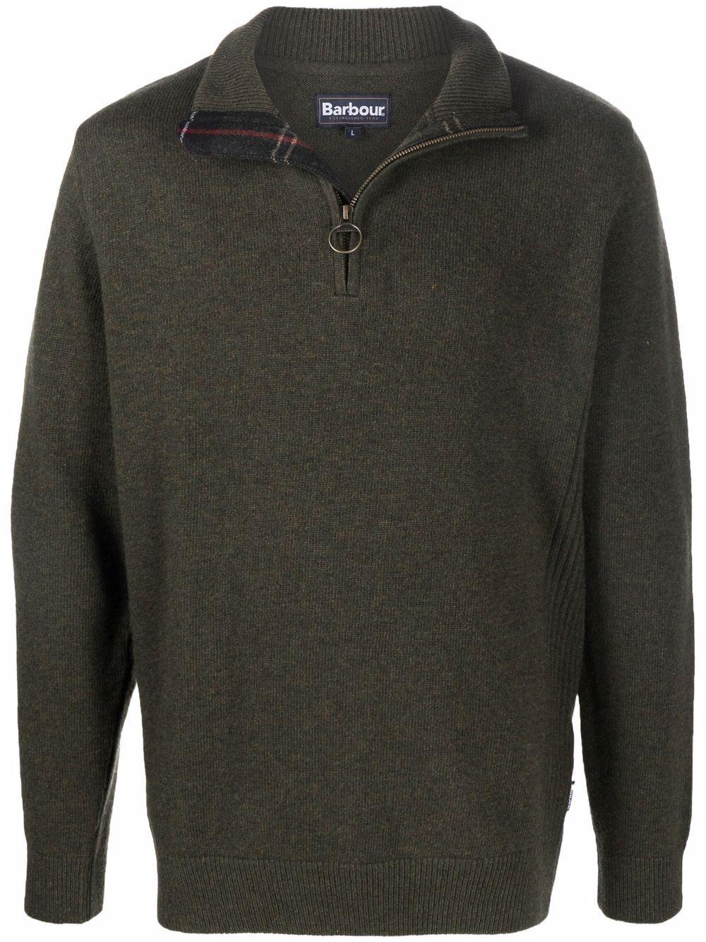 maglione con zip uomo verde in lana BARBOUR | Maglieria | MKN0837OL91