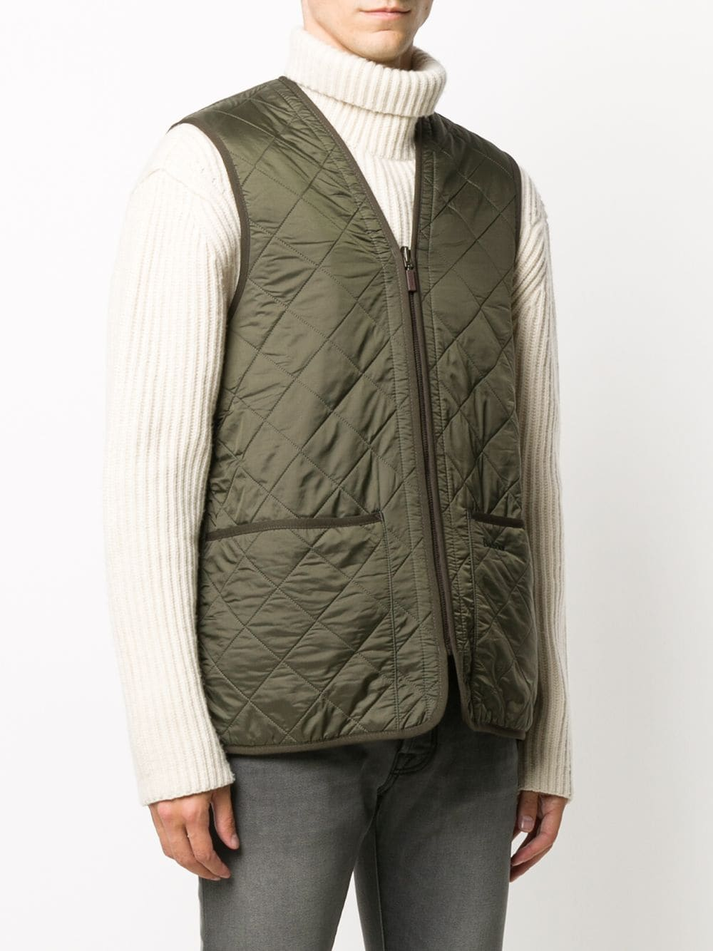 quilted waistcoat man olive green BARBOUR   Jackets   MLI0002OL91