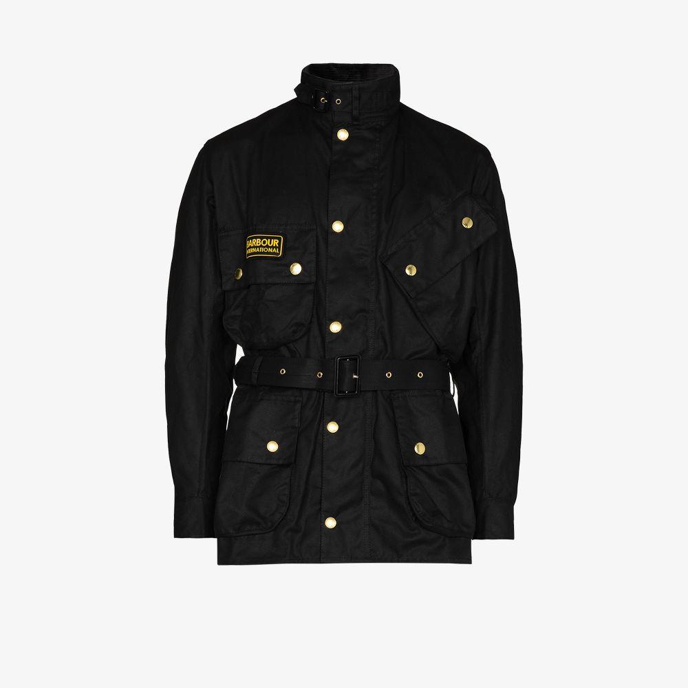 giacca international uomo nera in cotone BARBOUR | Giacche | MWX0004BK51