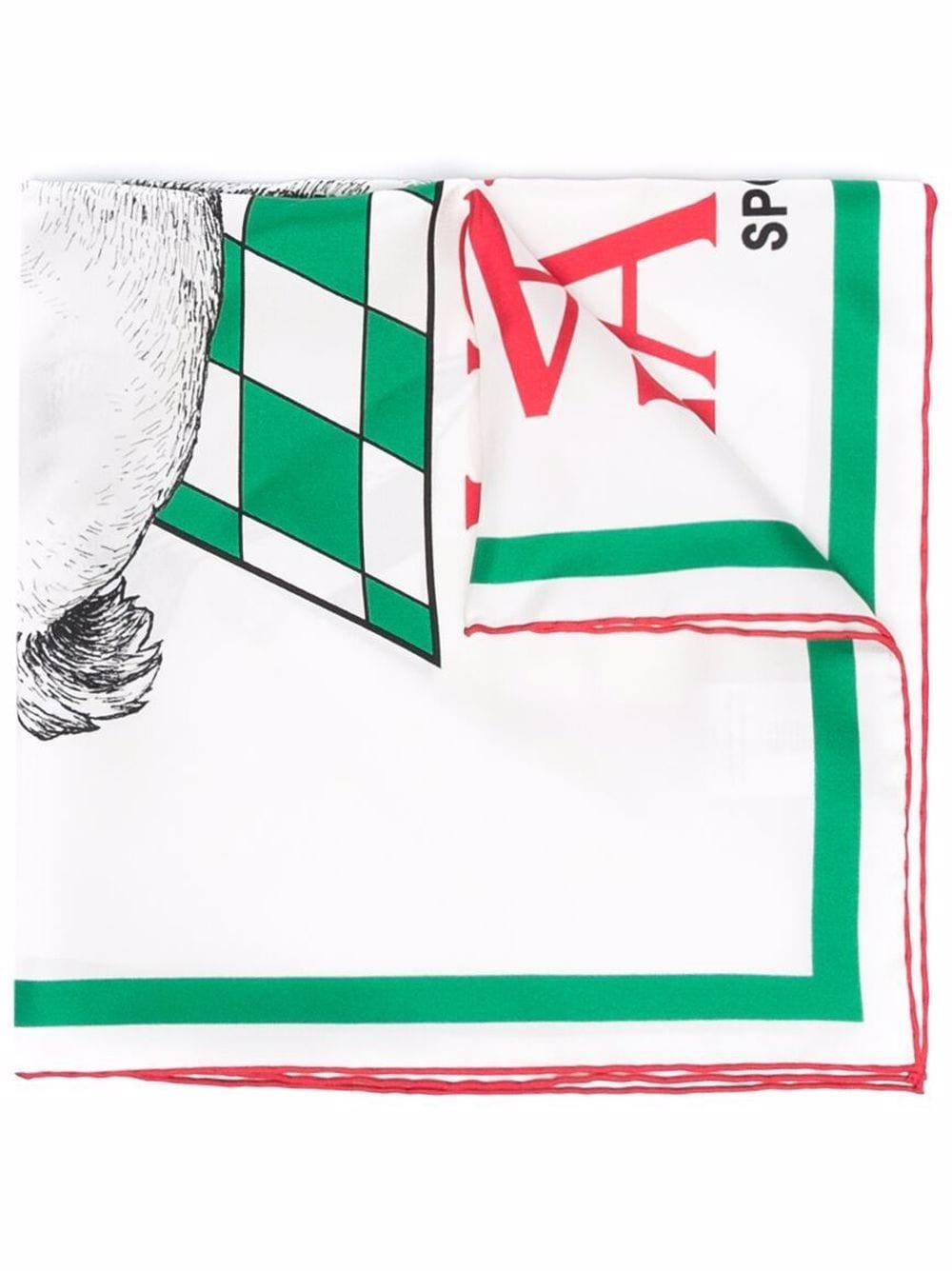 foulard in seta unisex bianco CASABLANCA | Sciarpe | AF21-ACC-016RABBIT