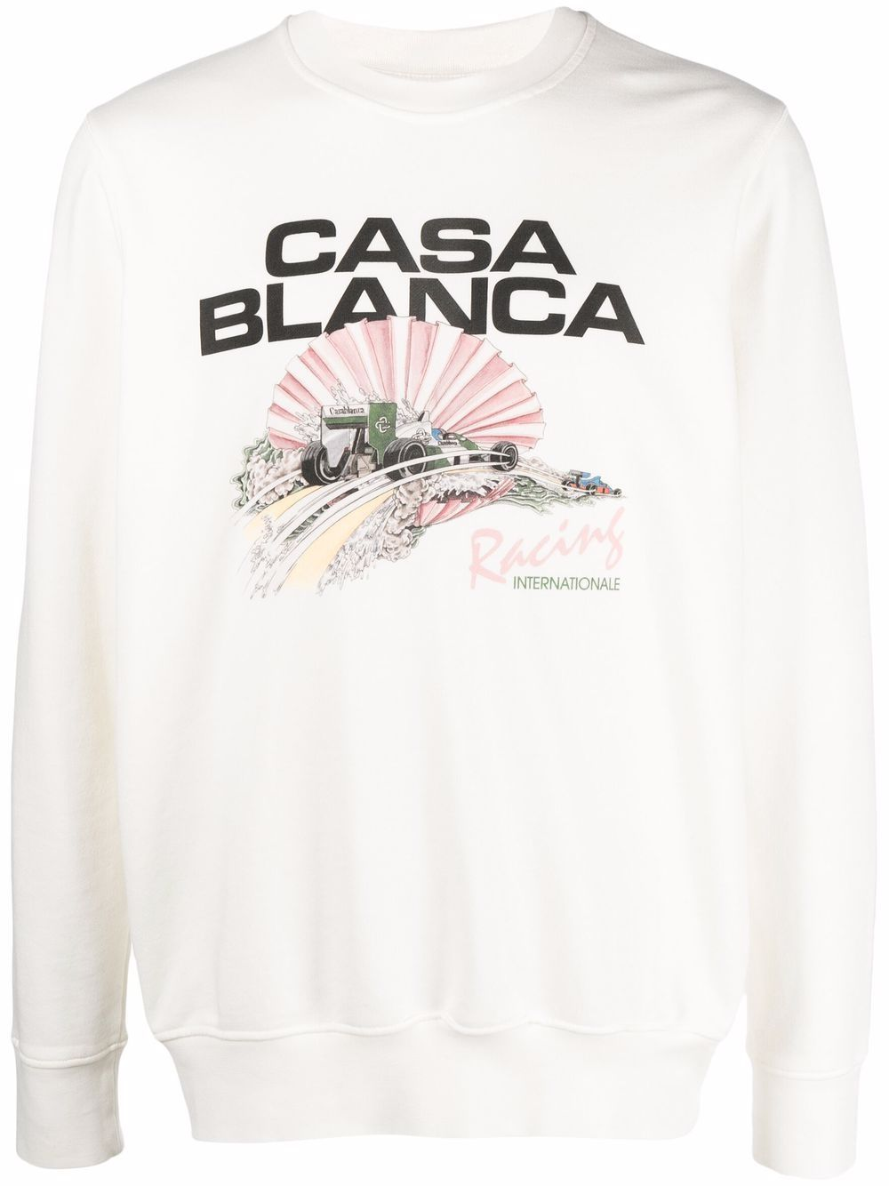 racing shell sweatshirt man white in cotton CASABLANCA | Sweatshirts | MF21-JTP-001OFF WHITE RACING SHELL
