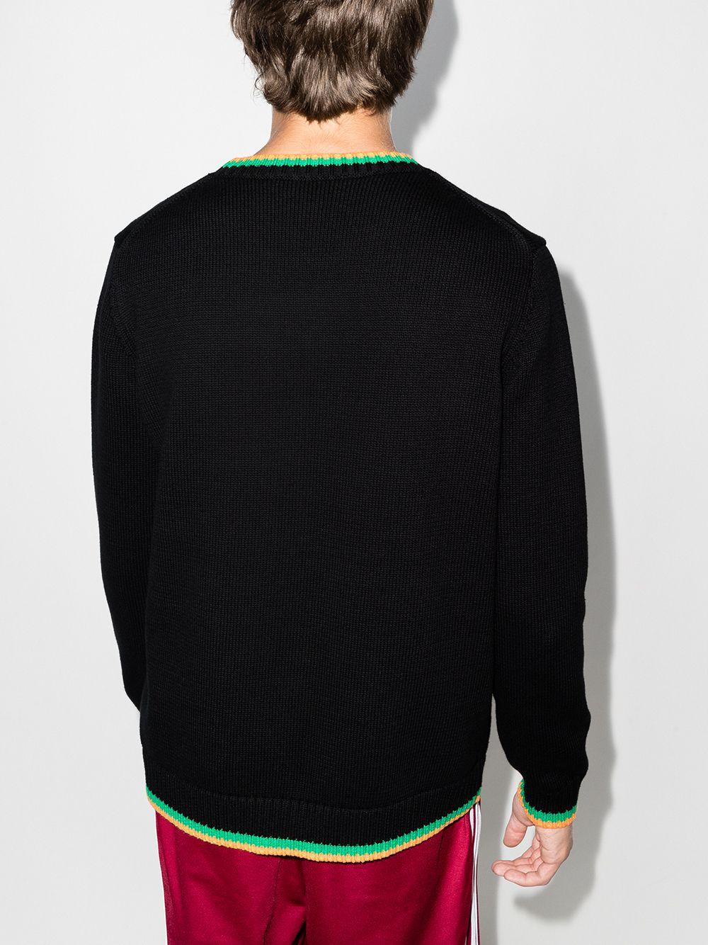crew neck sweater man black in cotton CASABLANCA   Sweaters   MF21-KW-116BLACK