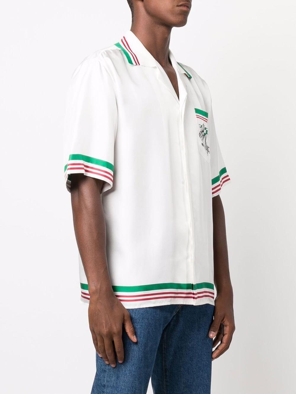 casa sport shirt man white in silk CASABLANCA   Shirts   MF21-SH-014CASA SPORT