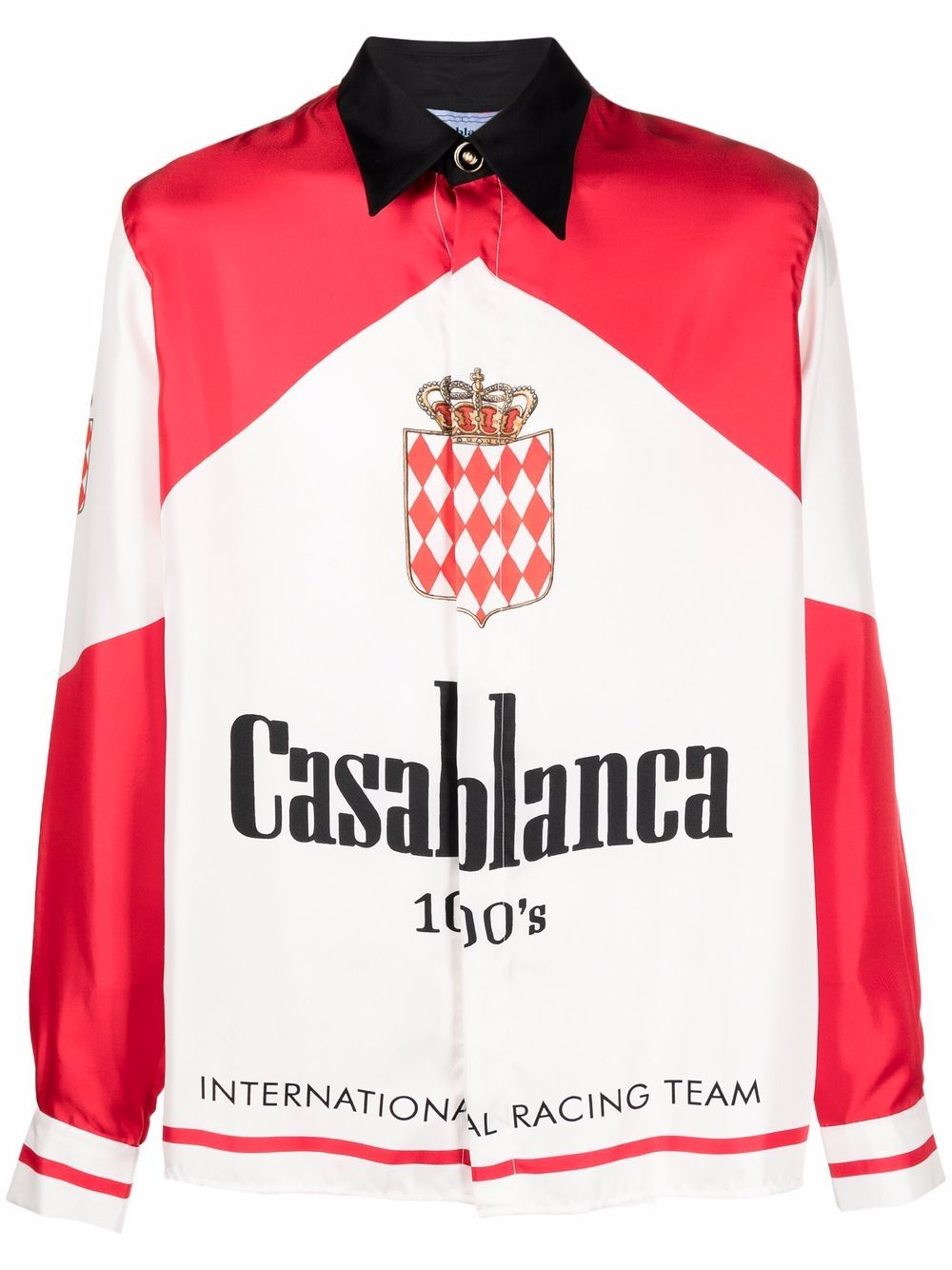 casablanca 100s shirt man white and red in silk CASABLANCA | Shirts | MF21-SH-021CASABLANCA 100'S