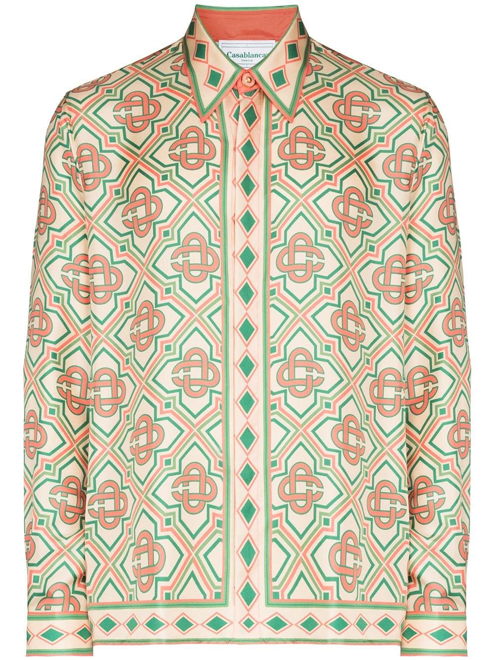 camicia diamond monogram uomo multicolor in seta CASABLANCA   Camicie   MF21-SH-021DIAMOND MONOGRAM