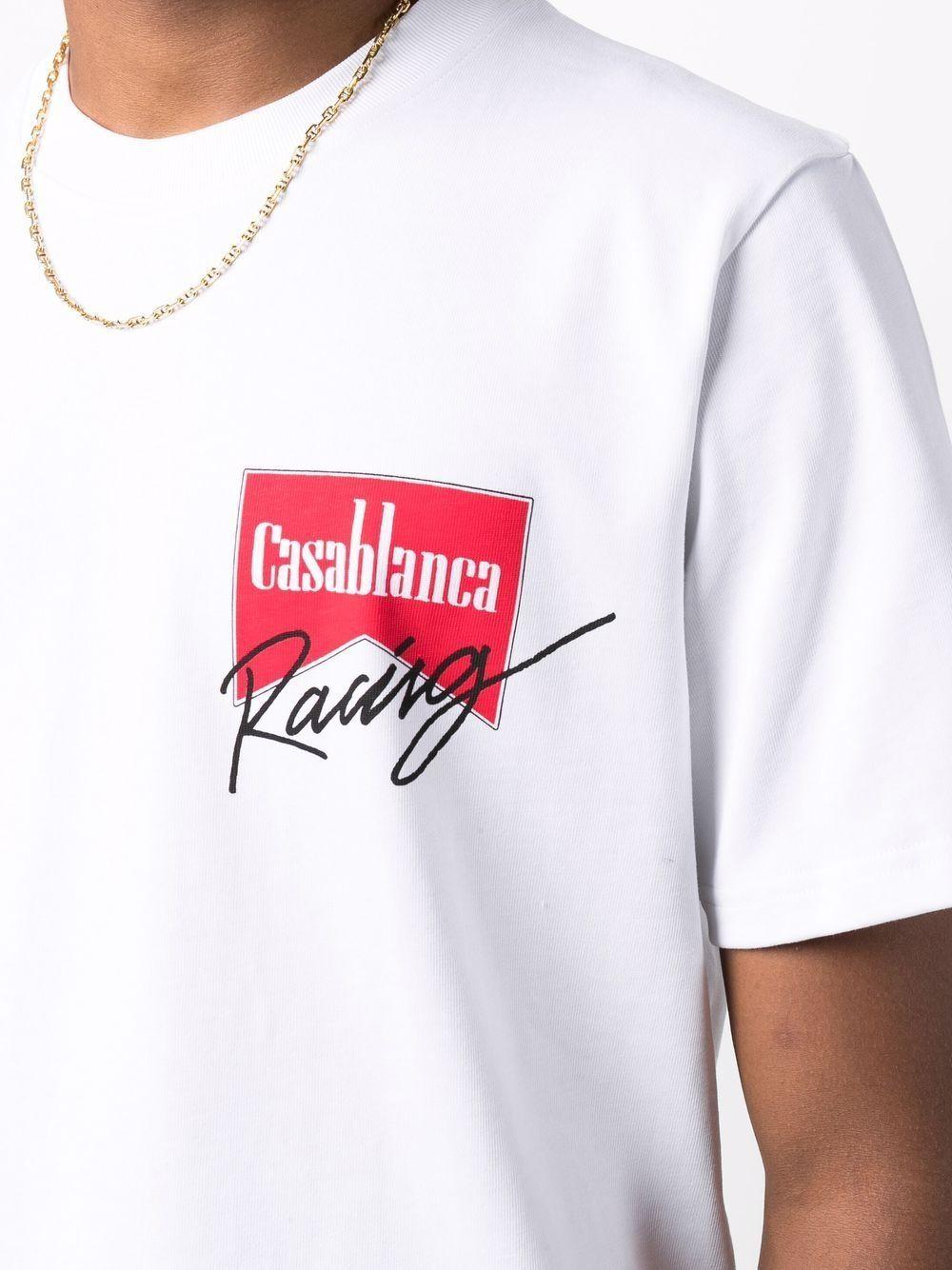 logo t-shirt man white in cotton CASABLANCA | T-shirts | MF21-TS-001WHITE CASA RACING