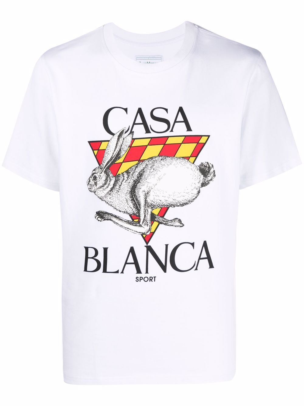 logo t-shirt man white in cotton CASABLANCA   T-shirts   MF21-TS-001WHITE CASA SPORT RED