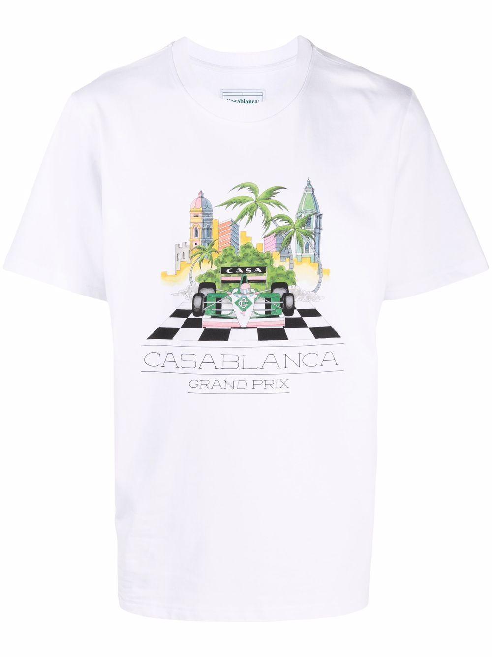 white finish line t-shirt man white in cotton CASABLANCA | T-shirts | MF21-TS-001WHITE FINISH LINE